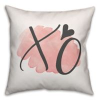 Designs Direct XO Watercolor Square Throw Pillow in Pink