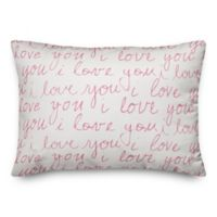 Designs Direct I Love You Handwriting Oblong Throw Pillow in Pink