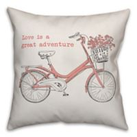 Designs Direct Love Is A Great Adventure Square Throw Pillow in Pink