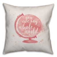 Designs Direct Whole World Square Throw Pillow in Pink