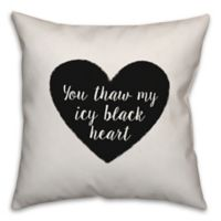 Designs Direct Icy Black Heart Square Throw Pillow