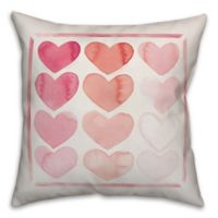 Designs Direct Watercolor Hearts Square Throw Pillow in Pink