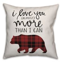 Designs Direct I Love You More Bear Square Throw Pillow in Red