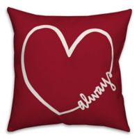 Designs Direct Always Heart Square Throw Pillow in Red