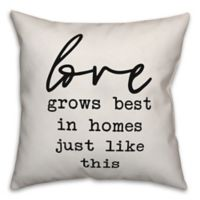 Designs Direct Love Grows Best Square Throw Pillow in Black