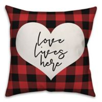 Designs Direct Love Lives Here Square Throw Pillow in Red