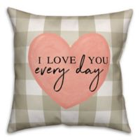 Designs Direct I Love You Every Day Square Throw Pillow in Tan