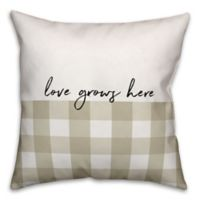 Designs Direct Love Grows Here Square Throw Pillow in Tan