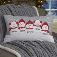 Snowman Family Personalized Throw Pillow