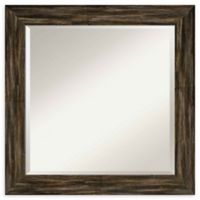 Amanti Art Narrow Fencepost Brown Square 25-Inch Framed Wall Mirror