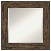 Amanti Art Fencepost Brown Square 27-Inch Framed Wall Mirror