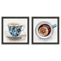 Kate and Laurel Sylvie Teacups 2-Piece Framed Wall Art