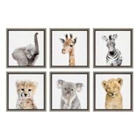 Kate And Laurel® Sylvie Safari Animals 13-Inch Frame Canvas Wall Art (Set of 6)