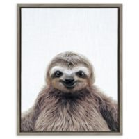 Kate And Laurel Sylvie Sloth Color 18-Inch x 24-Inch Framed Wall Art