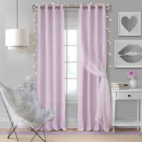 Elrene Aurora Kids 84-Inch Grommet Darkening Layered Sheer Window Curtain Panel in Lavender