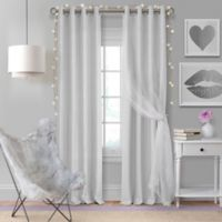 Elrene Aurora Kids 63-Inch Grommet Darkening Layered Sheer Window Curtain Panel in Pearl Grey