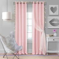 Elrene Aurora Kids 84-Inch Grommet Darkening Layered Sheer Window Curtain Panel in Soft Pink