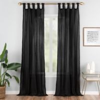 Priya 63-Inch Tab Top Window Curtain Panel in Black