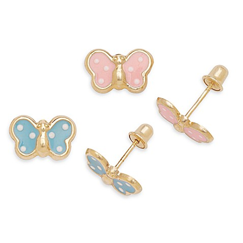 children s back earrings 14k yellow gold children s back butterfly earrings 2307