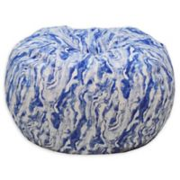 Acessentials® Polyester Upholstered Marble Bean Bag Chair in Blue