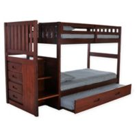 Discovery World Furniture™ Stair Stepper Twin/Twin Bunk Bed with Trundle in Merlot