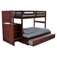 Discovery World Furniture™ Stair Stepper Twin/Full Bunk Bed with Trundle in Merlot