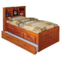 Discovery World Furniture Twin Bookcase Bed with Drawers and Trundle in Honey