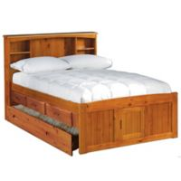 Discovery World Furniture Full Bookcase Bed with Drawers and Trundle in Honey