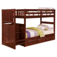 Discovery World Furniture™ Stair Stepper Twin Over Twin Bunk Bed with Drawers in Merlot