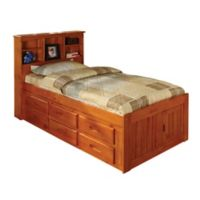 Discovery World Furniture™ Twin Bookcase Captain's Bed with 12 Drawers in Merlot