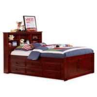 Discovery World Furniture™ Twin Bookcase Captain's Bed with 6 Drawers in Merlot