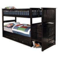 Discovery World Furniture™ Stair Stepper Twin Over Twin Bunk Bed with Drawers in Espresso