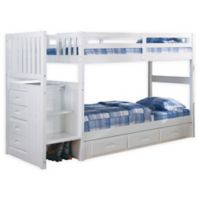 Discovery World Furniture™ Stair Stepper Twin Over Twin Bunk Bed with Drawers in White