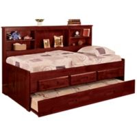 Discovery World Furniture Twin Daybed with Drawers and Trundle in Merlot