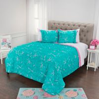 Simply Southern Seashell and Coral Reversible Twin XL Quilt Set in Pink