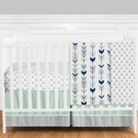 Sweet Jojo Designs Mod Arrow 4-Piece Crib Bedding Set in Grey/Blue