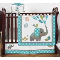 Sweet Jojo Designs Mod Elephant 4-Piece Crib Bedding Set in Teal/Green