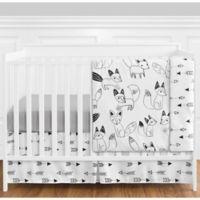 Sweet Jojo Designs Fox 4-Piece Crib Bedding Set in Grey/Black