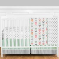 Sweet Jojo Designs Mod Arrow 4-Piece Crib Bedding Set in Mint/Coral