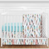 Sweet Jojo Designs Feather 4-Piece Crib Bedding Set in Coral/Turquoise