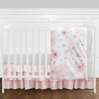 Sweet Jojo Designs Watercolor Floral 4-Piece Crib Bedding Set in Pink/White