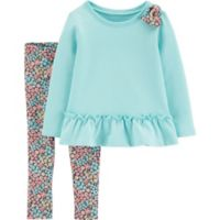 carter's® Newborn Floral Pant Set with Shoulder Bow in Mint