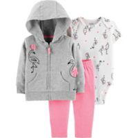 carter's® Size 3M 3-Piece Flamingo Hoodie, Bodysuit, and Pant Set in Grey