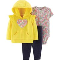 carter's® Size 12M 3-Piece Floral Heart Hoodie, Bodysuit, and Pant Set in Yellow