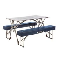 Kamp-Rite® Kwik Set 3-Piece Folding Table and Benches Set in Silver