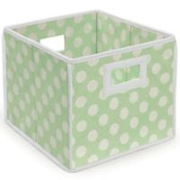 Badger Basket Medium Polka Dot Folding Storage Cube in Sage/White