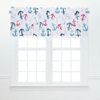 Anchors Away Ruffled Valance Pair in Blue