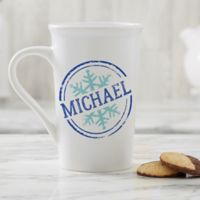 Personalized Stamped Snowflake 16oz. Latte Mug