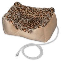 Padded Heated Pet Bed in Leopard