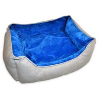 Small Soft Pet Bed in Blue/Grey